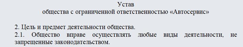 Выписка из Устава ООО. Часть 1